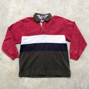 Tommy Hilfiger Colorblock Rugby Shirt Polo 90's L
